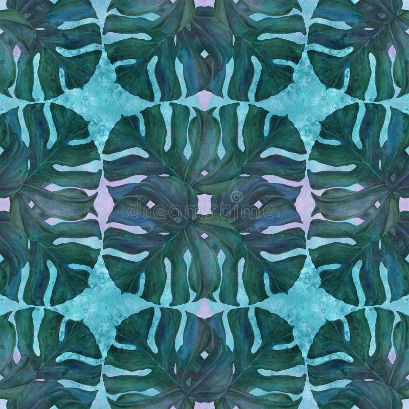 Stora sidor av tropiska växter Dekorativ sammansättning på en vattenfärgbakgrund grupper som tecknar spolning för vattenfärg för  stock illustrationer