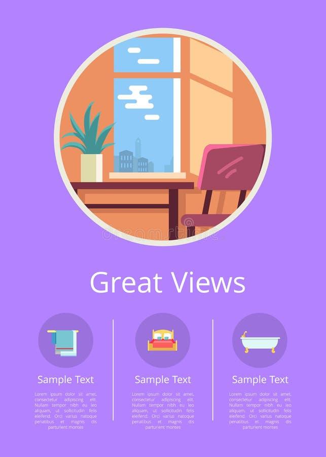 Stora sikter i Windows av bekväma hotellrum vektor illustrationer