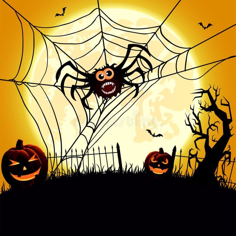 Stora spindel och pumpor royaltyfri illustrationer