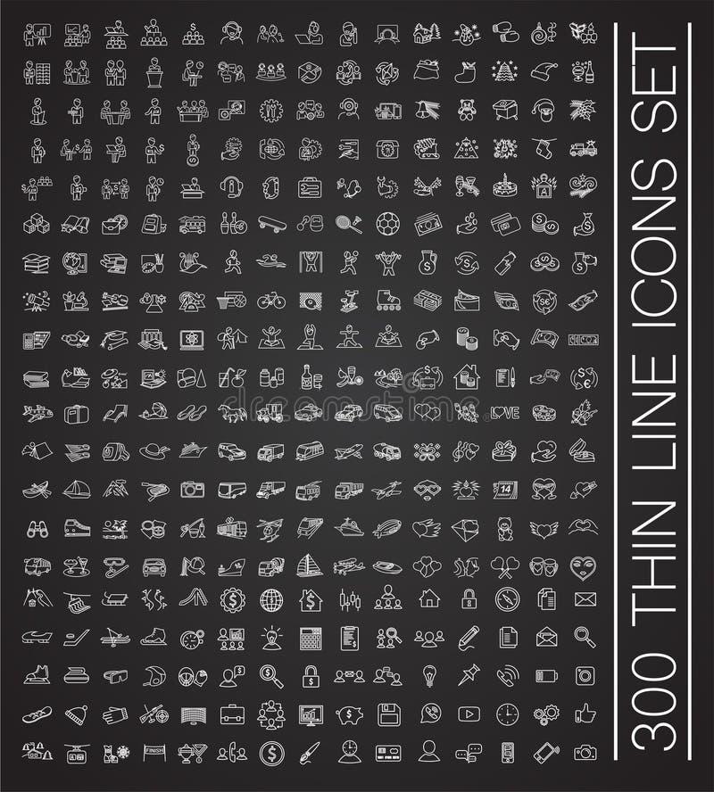 Stora 300 ställde tunn linje in symboler på svart bakgrund för diagrammet och rengöringsdukdesignen, modernt enkelt vektortecken  vektor illustrationer