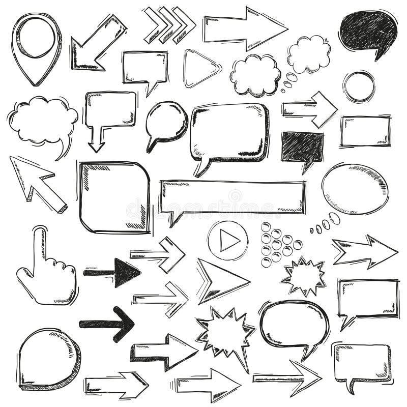 Stora svarta markörer för pilar för Oldschool beståndsdelbubblor stock illustrationer