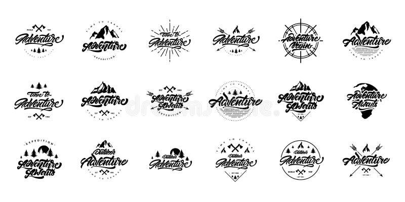 Stora svartvita logoer för affärsföretagbokstäveruppsättning Tappninglogoer med berg, brasor och pilar Aff?rsf?retaglogodesign vektor illustrationer