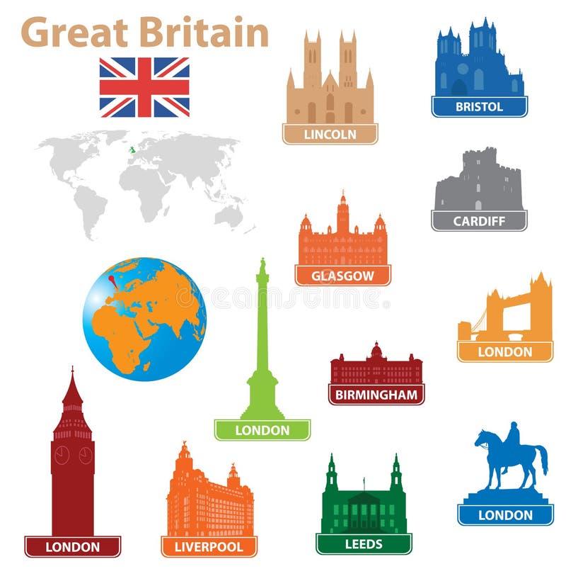 stora symboler för britain stad till vektor illustrationer