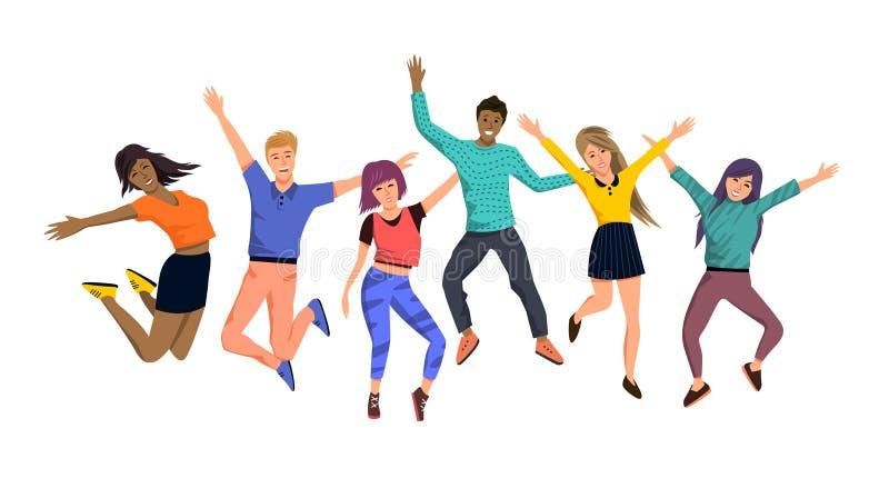 Stora Team Of Happy Jumping People royaltyfri illustrationer
