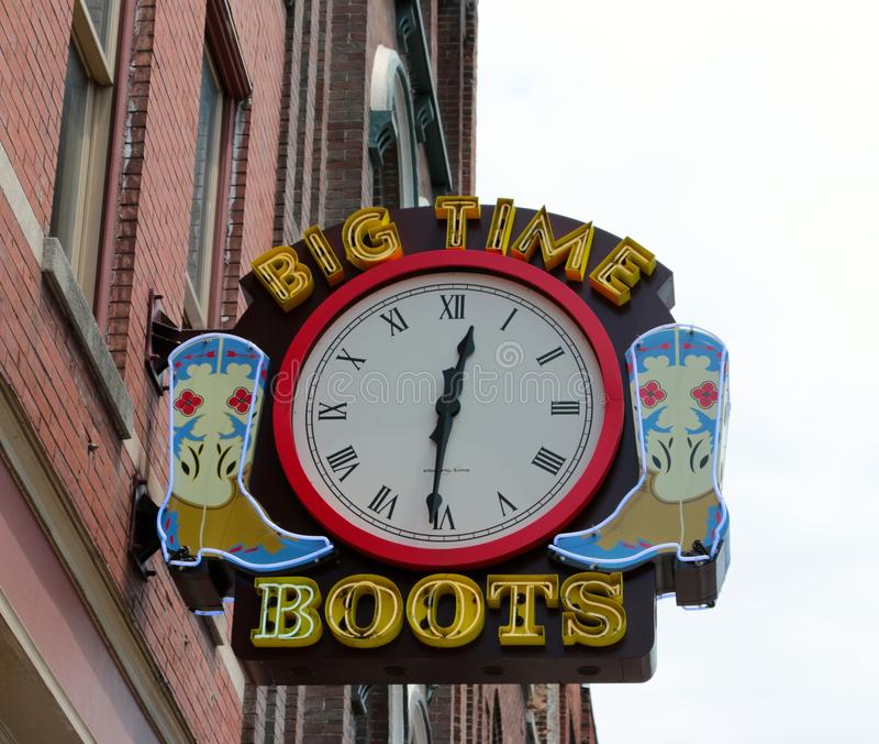 Stora Tid kängor, Nashville Tennessee royaltyfri bild