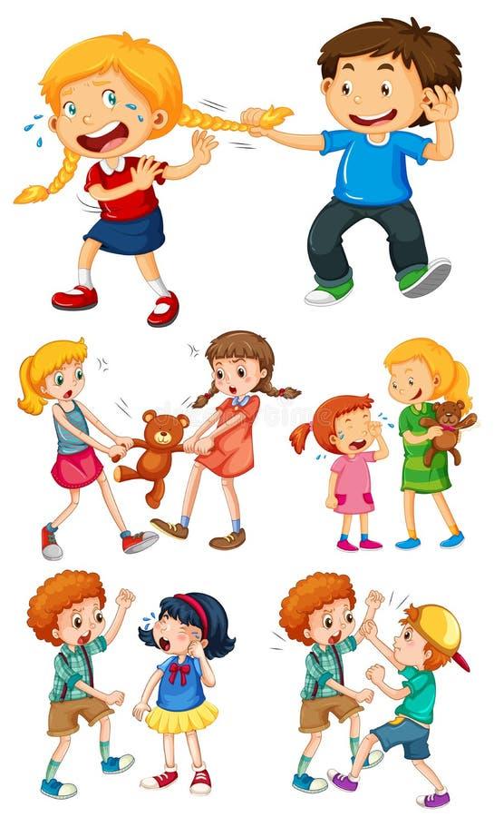 Stora ungar som slåss med små ungar stock illustrationer