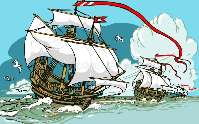 Stora upptäckter - segla för tre spansk gallion royaltyfri illustrationer