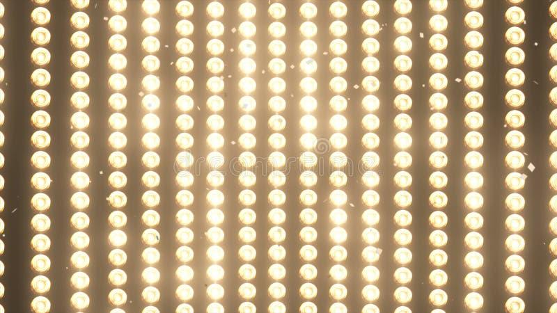 STORA väggljus och fallande skinande guld- konfettier för partiet, mode, videopp befordringar för dansklubba, animering 3d royaltyfri fotografi