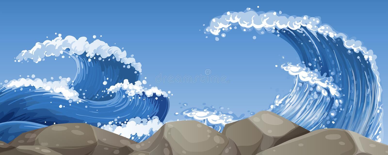Stora vågor över vaggar vektor illustrationer