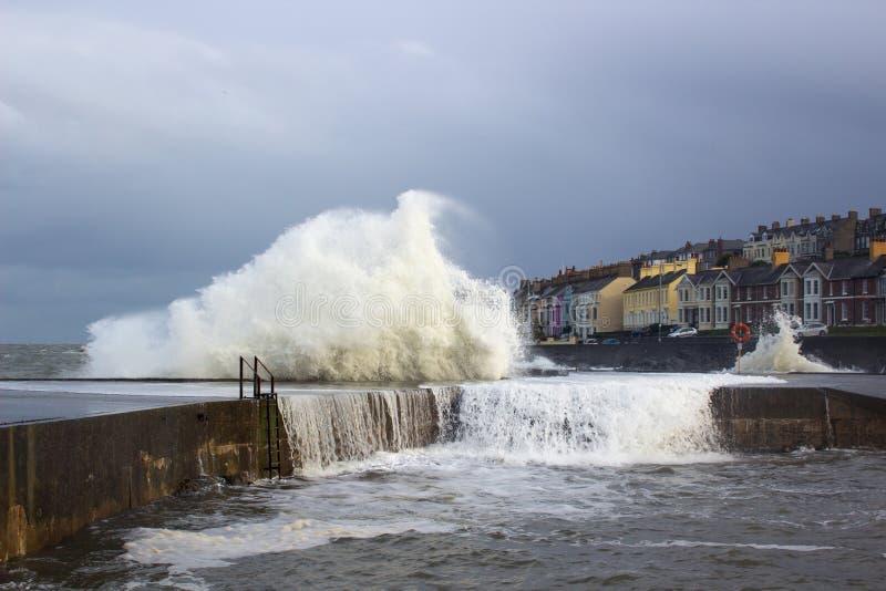 Stora vågor från det irländska havet under en vinterstorm slår hamnväggen på det långa hålet i Bangor Irland arkivfoton