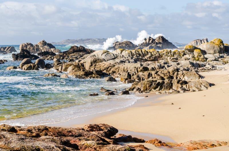 Stora vågor som kraschar på, vaggar kustlinjen royaltyfria bilder
