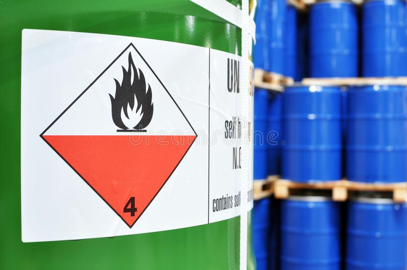 storage of barrels in a chemical factory - logistics and shipping stock photography