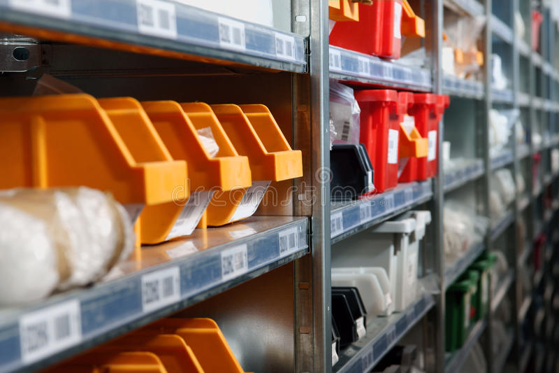 Warehouse Storage bins and racks royalty free stock image