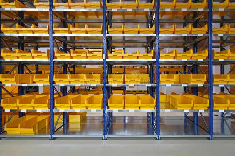 Storage bins. And trays in distribution warehouse royalty free stock photography