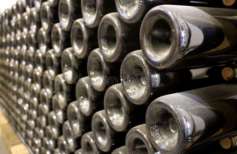 Storage of bottles of wine in seasoning period. Storage of bottles of wine and champagne in seasoning period stock photos