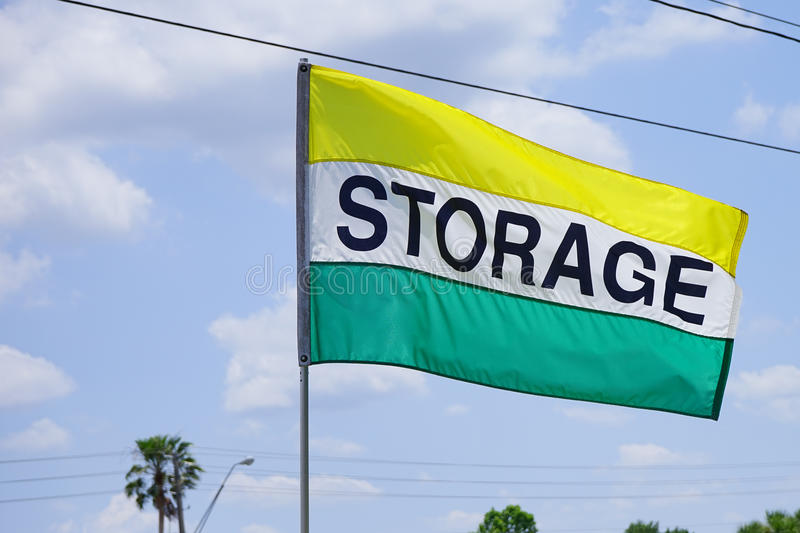 Storage Building flag. Colorful Storage Building flag, taken in florida stock image