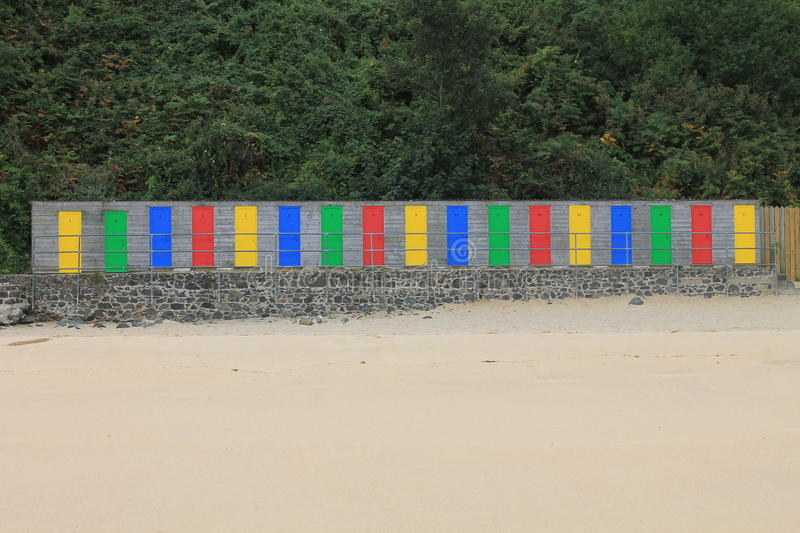 Storage Cabins with Colourful Doos at St Ives in Cornwall, England, UK stock image