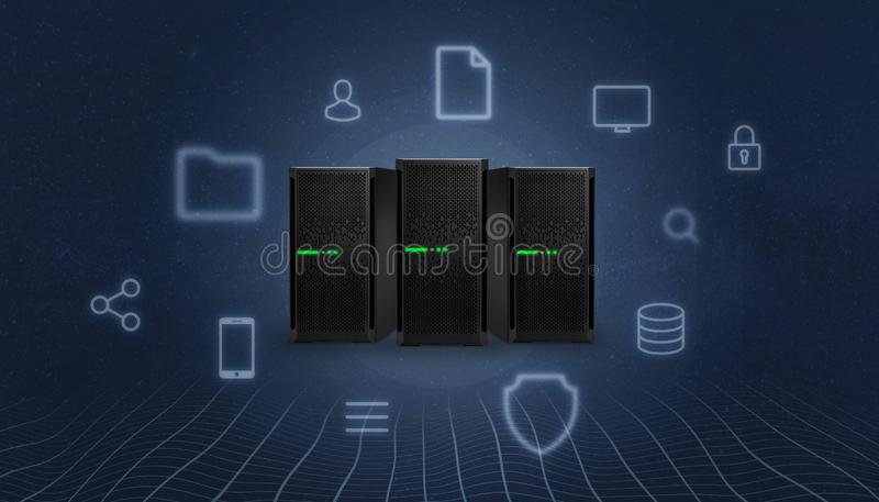 Storage, cloud, server station surrounded with concept internet services icons royalty free illustration
