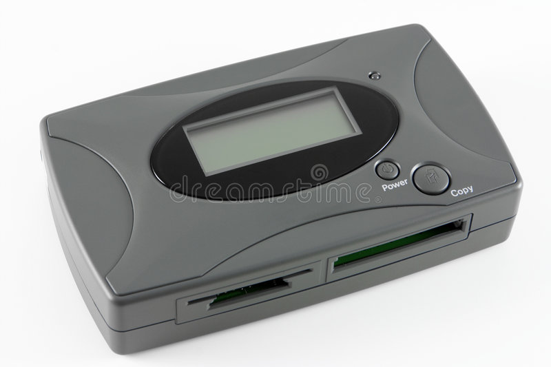 Storage Device. A card reader and 20GB storage device isolated royalty free stock photos