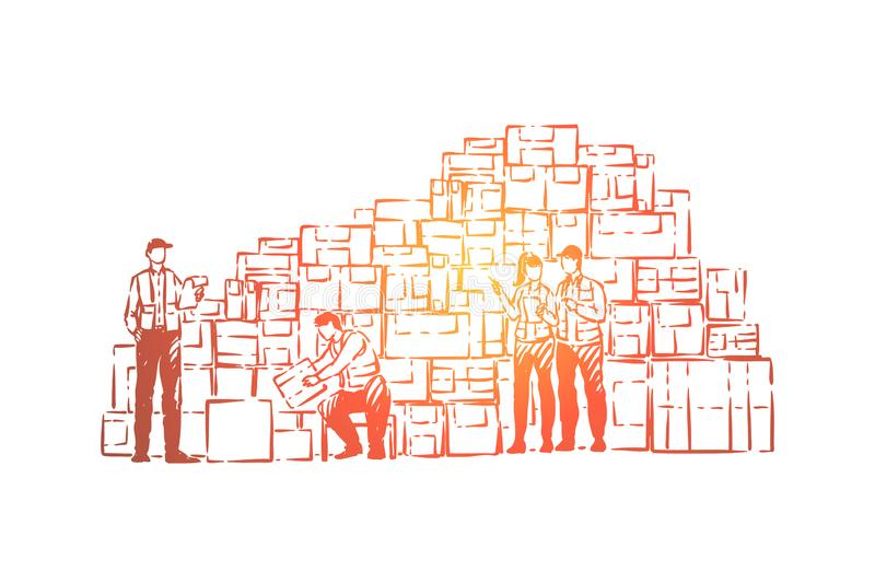 Storage facility workers, warehouse employees sorting packages, storing boxed goods, preparing freight delivery. Jobs in shipping service and inventory concept vector illustration