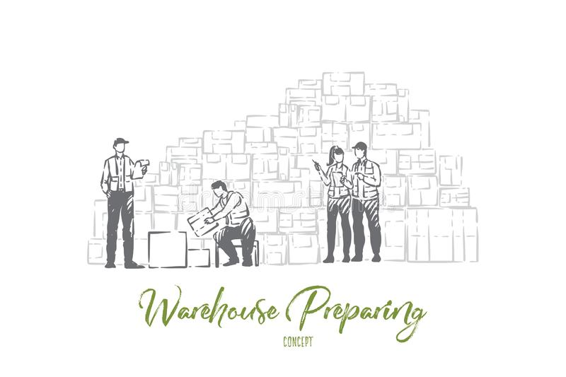 Storage facility workers, warehouse employees sorting packages, storing boxed goods, preparing freight delivery. Jobs in shipping service and inventory concept stock illustration
