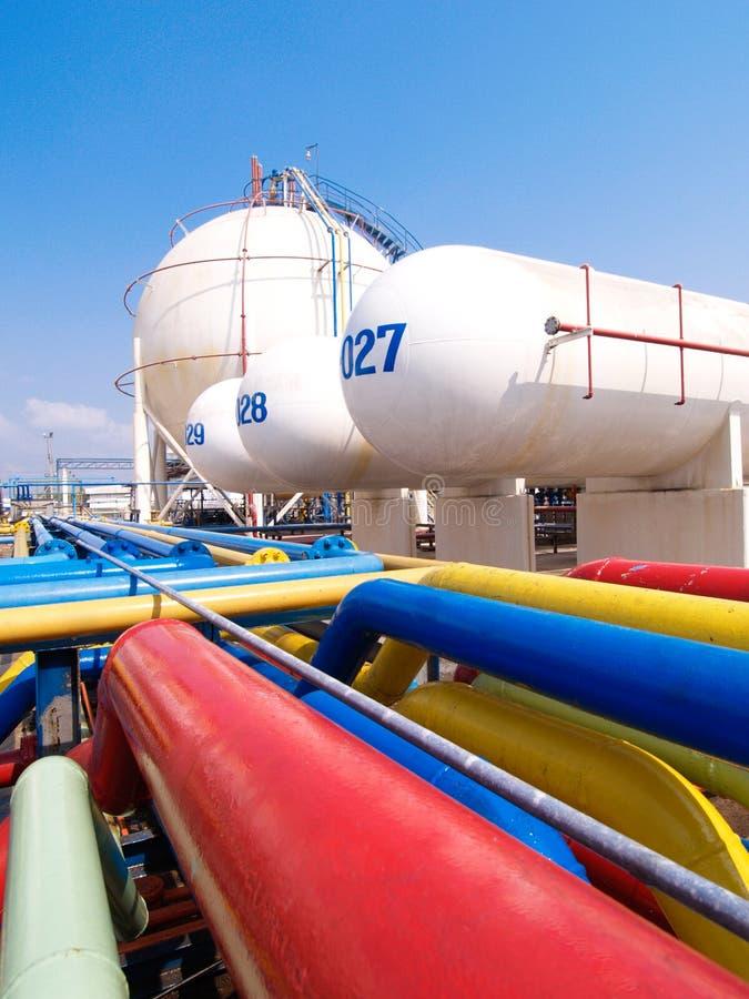 Gas tanks for storage LPG propane and propylene ga royalty free stock photo