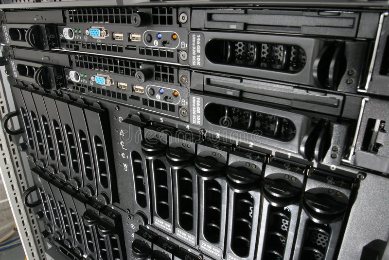 Storage in the rack. Generic rack mounted 1U servers and storage arrays in a server room