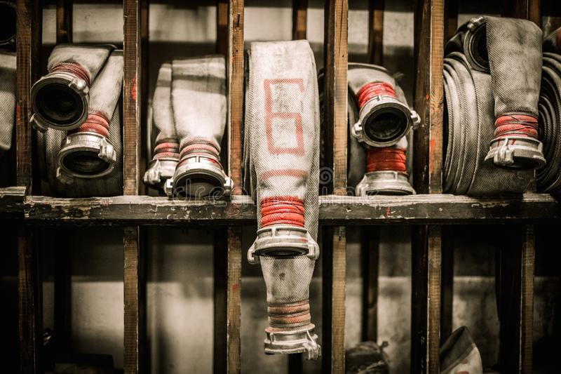Storage room in firefighting depot stock images