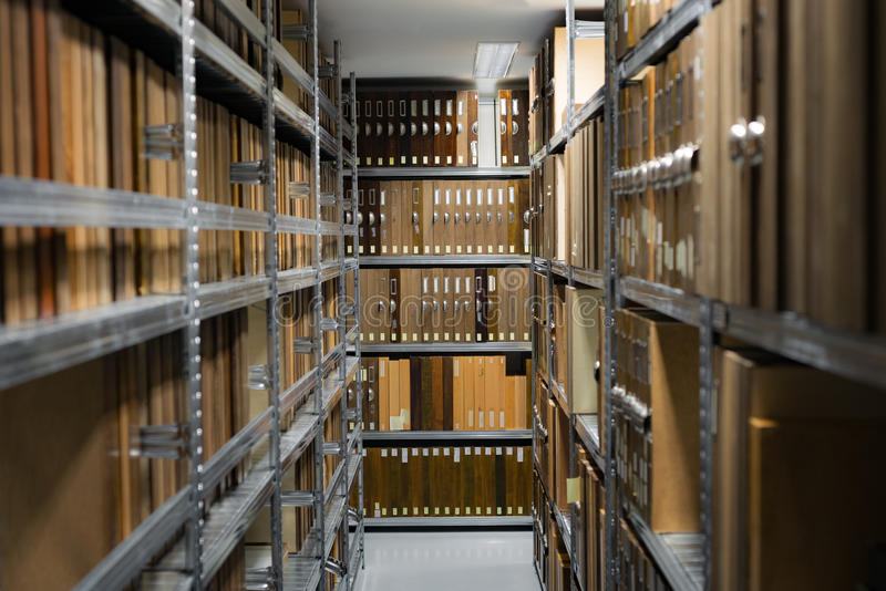 Storage archive depostiory room with folders stock images