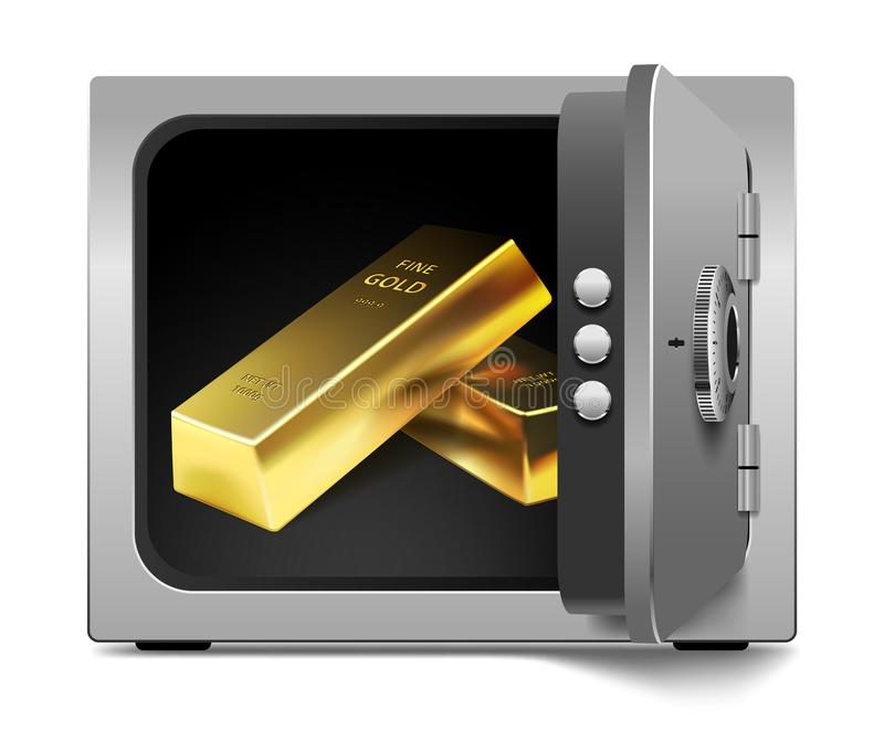 Storage safe with gold bars isolated on white royalty free illustration