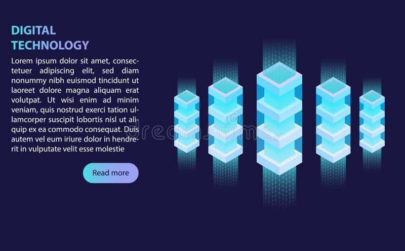 Storage server room data center, binary number line concept, huge amount of data processing, cloud storage, isometric vector stock illustration