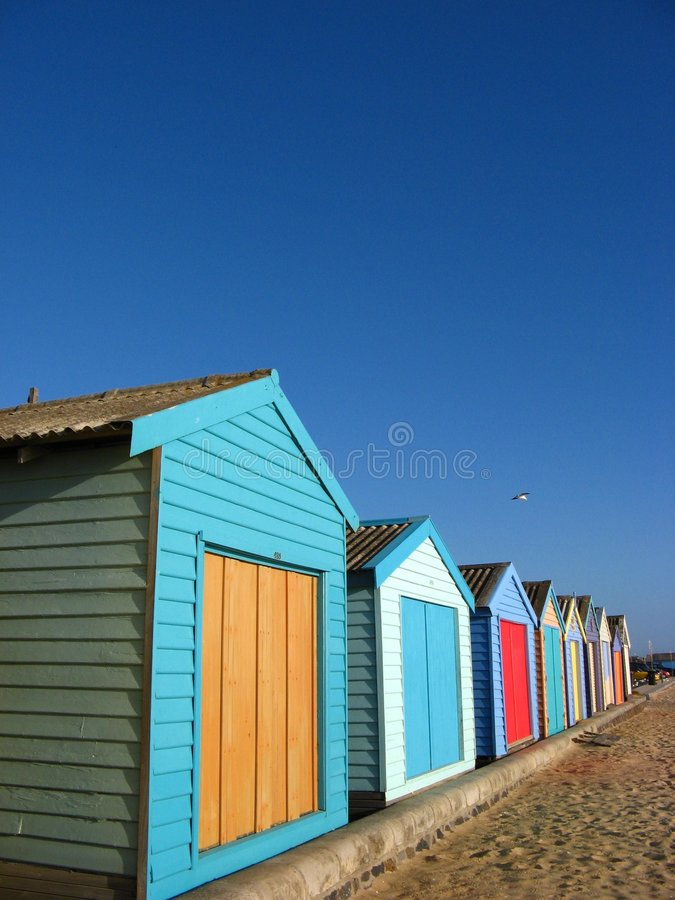 Storage Sheds On The Beach Royalty Free Stock Photography