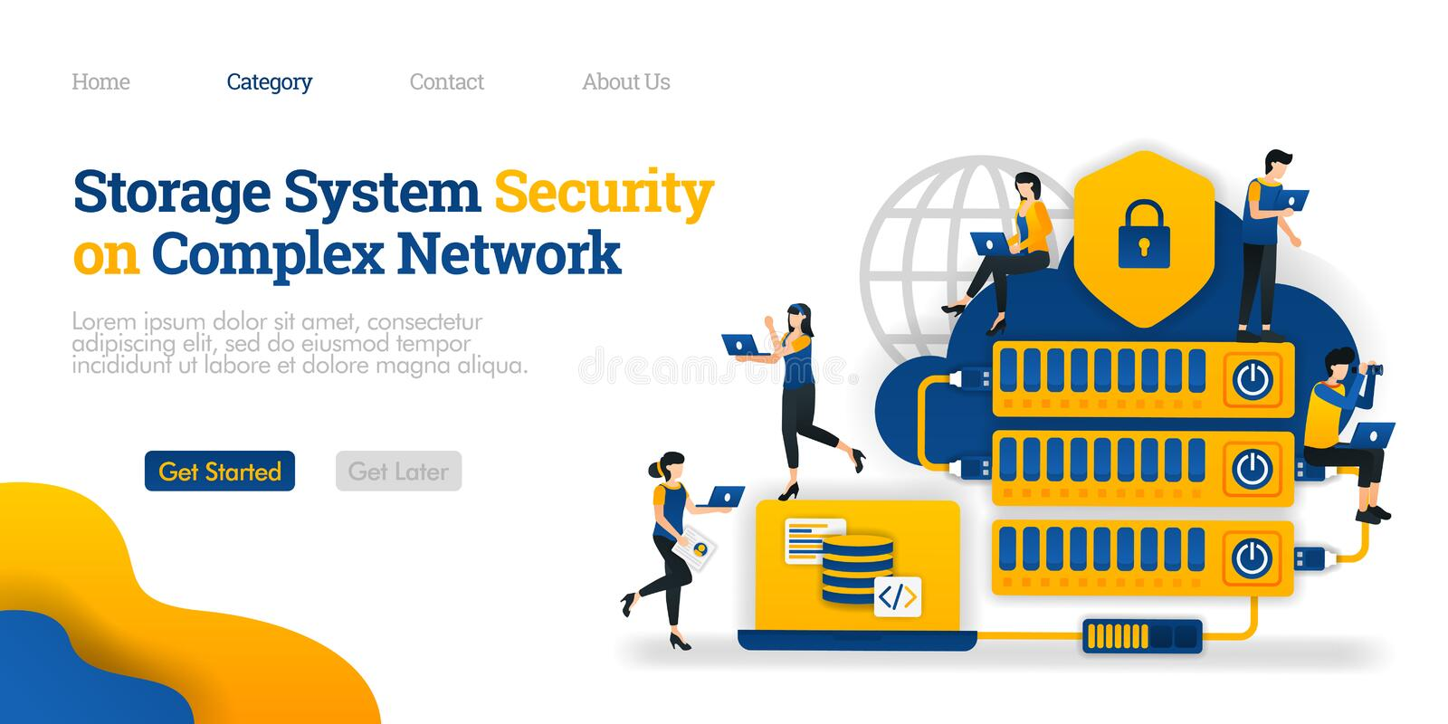 Storage System Security in Complex Network. hosting made complicated for data security. Vector flat illustration concept, ads stock illustration