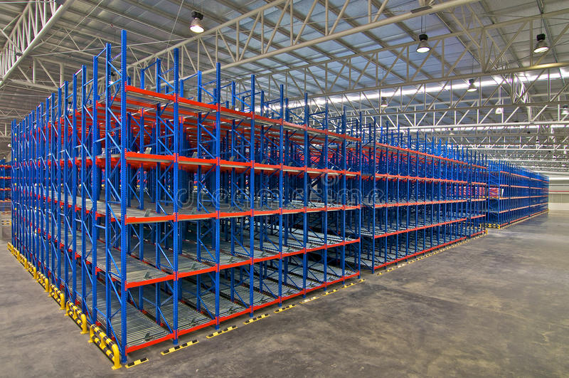 Storage system shelving metal pallet racking in warehouse stock photography