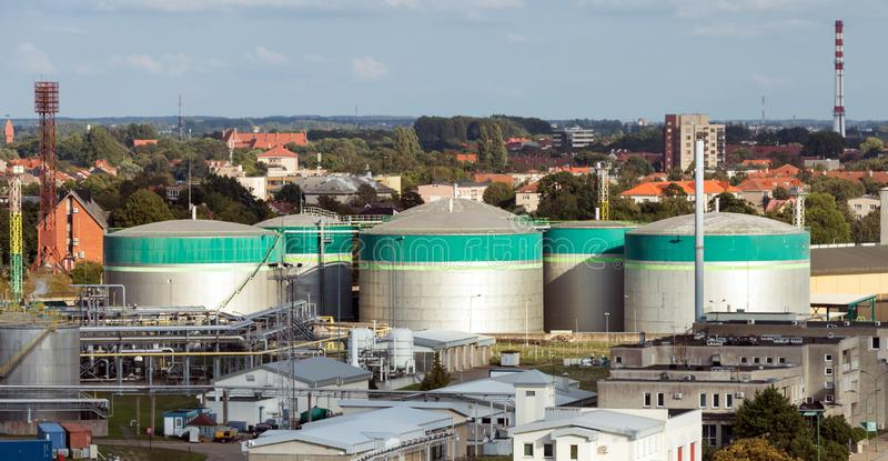 Storage tanks of chemical products in the port.Ariale panoramic view of Klaipeda city and port royalty free stock image