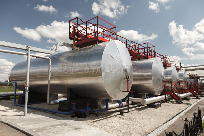 Storage Tanks for petroleum products at the refinery. Oil industry. Oil Storage Tanks for petroleum products at the refinery stock photos