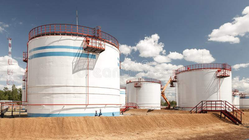 Storage Tanks for petroleum products at the refinery. Oil industry. Oil Storage Tanks for petroleum products at the refinery royalty free stock photo