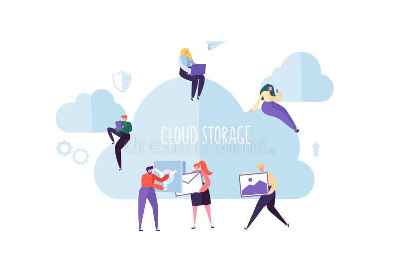 Storage technology de nuage Homme et femme travaillant ensemble partageant des dossiers de transfert des informations sur les don illustration stock