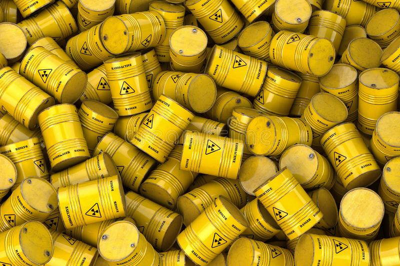Storage and utilization of nuclear radioactive waste concept background. Heap of yellow barrels with radioactive sign royalty free illustration