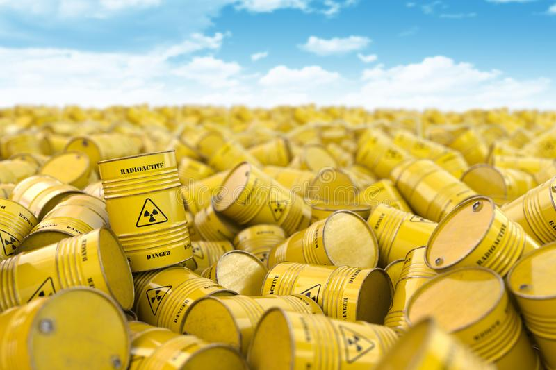 Storage and utilization of nuclear radioactive waste concept background. Heap of yellow barrels with radioactive sign. 3d illustration stock illustration