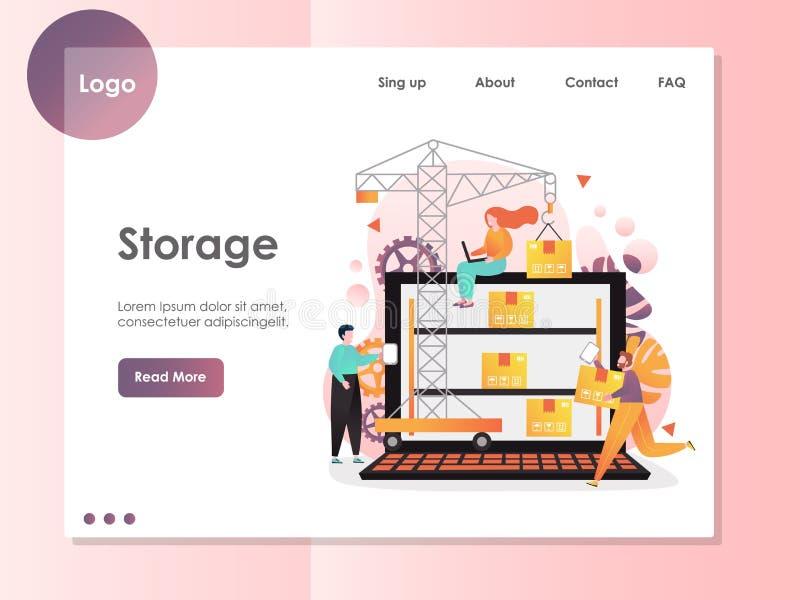 Storage vector website landing page design template stock illustration