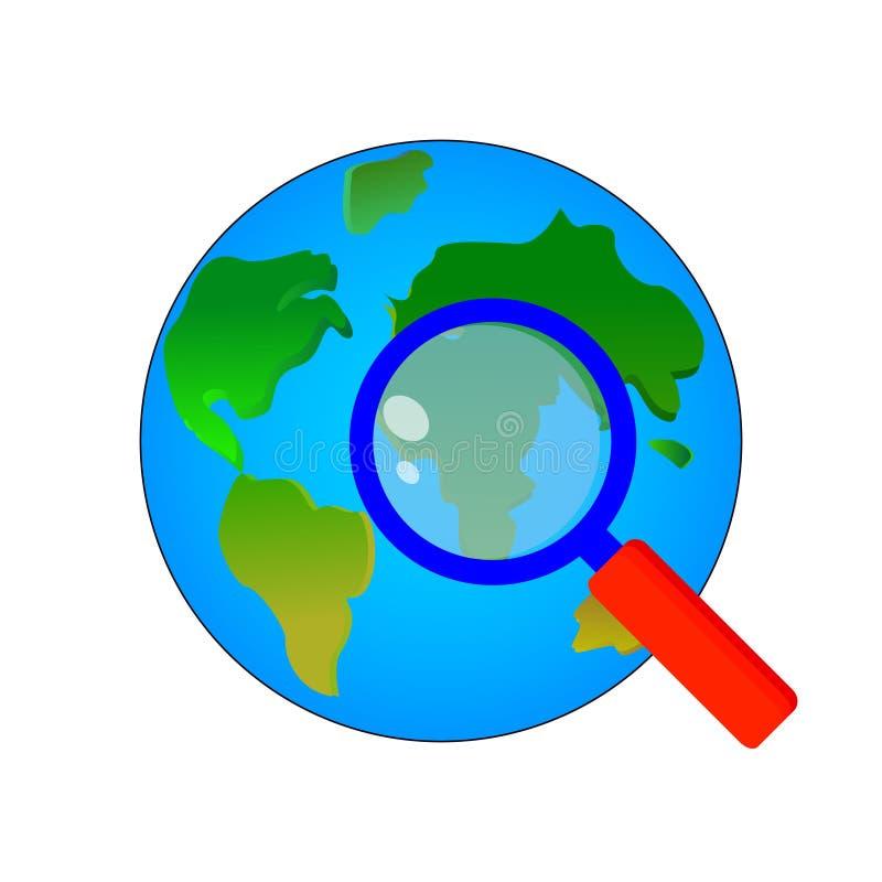 Storartad begreppsdesign av planetjorden under ett förstoringsglas på en vit bakgrund royaltyfri illustrationer