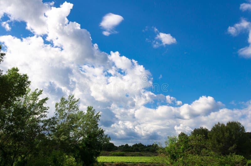 Storartad dag av vita moln i den blåa himlen royaltyfri bild