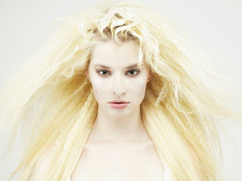 storartad kvinna för härligt hår fotografering för bildbyråer