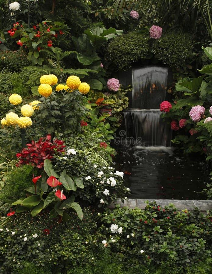 storartad trädgård för butchardkaskadspringbrunn royaltyfri bild