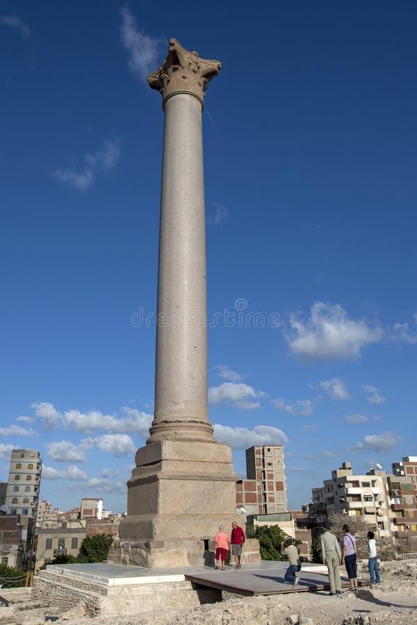 Storartade Pompey'sens pelare på Alexandria i Egypten arkivbilder
