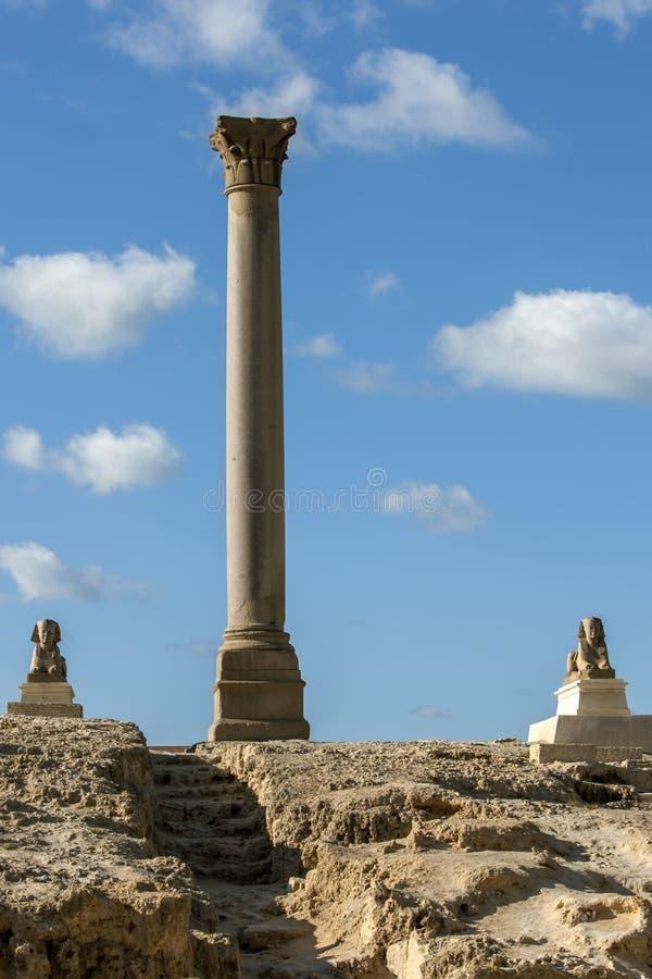 Storartade Pompey'sens pelare på Alexandria i Egypten arkivbild