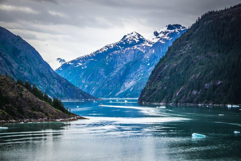 Storartade Sawyer Glacier på spetsen av Tracy Arm Fjord arkivbild