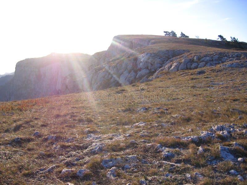 Storartat pittoreskt berglandskap av Krim uppifrån av detPetri berget med träd arkivbild