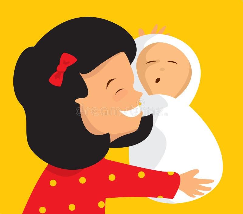 Storasystern som kramar ett nyfött, behandla som ett barn brodern royaltyfri illustrationer